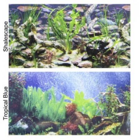 Penn Plax Double-Back Aquarium Background - Tropical Blue / Shalescape alternate img #1