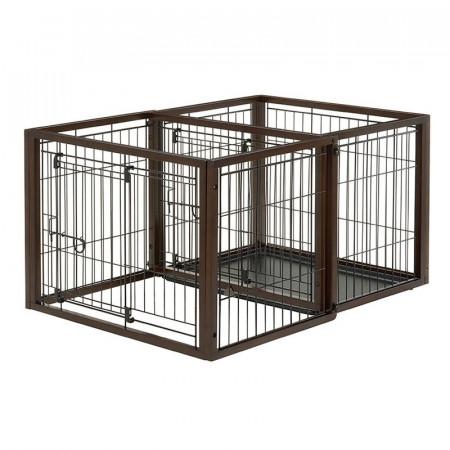 Richell Flip to Play Pet Crate - Dark Brown alternate img #1