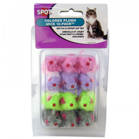Spot Colored Plush Mice Cat Toy with Rattle & Catnip alternate img #1