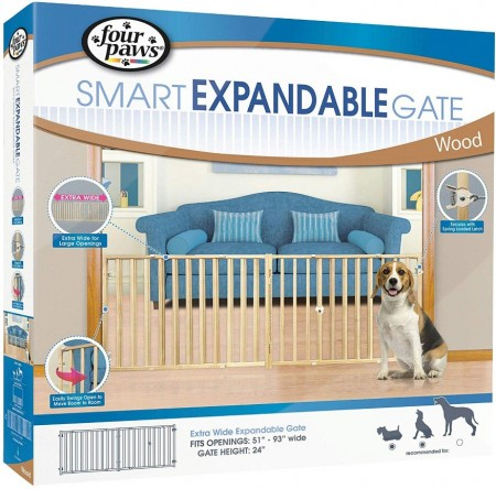 Four Paws Smart Expandable Extra Wide Wood Gate alternate img #1