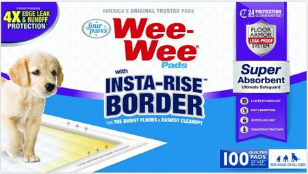 Four Paws Wee Wee Insta Rise Border Quilted Pads - 23 x24 alternate img #1
