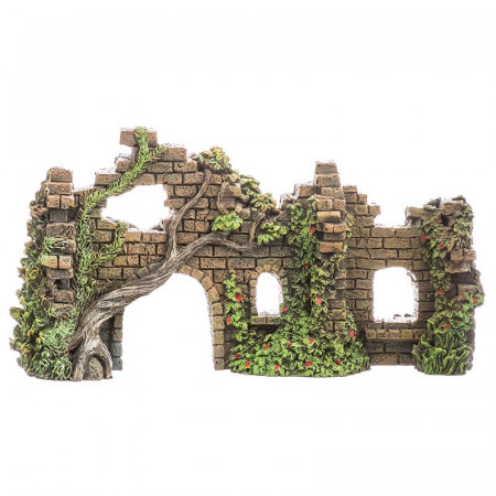 Blue Ribbon Exotic Environments Cobblestone Castle Walls Aquarium Ornament alternate img #1