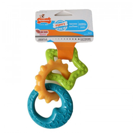 Nylabone Puppy Chew Teething Rings - Bacon Flavor alternate img #1