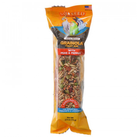 Vitakraft Sunseed Vita Prima Grainola Treat Bar with Peas & Peppers alternate img #1