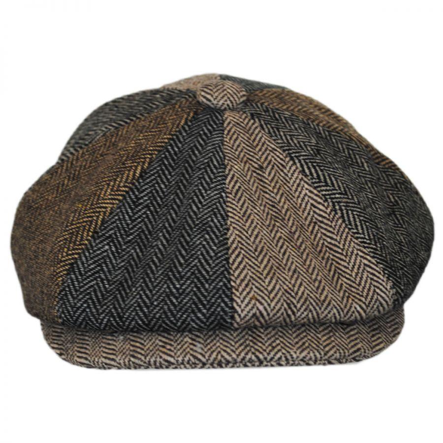 Herringbone Patchwork Wool Blend Newsboy Cap  3e7fed7a67c