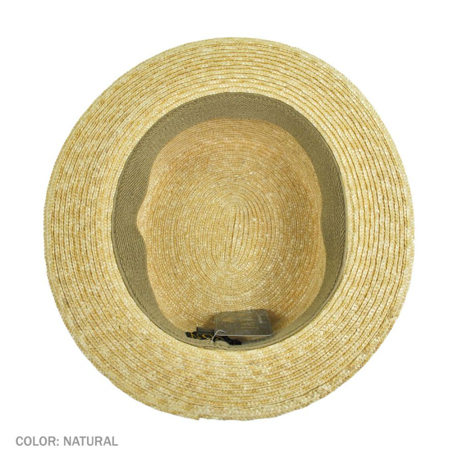 ac6e067c9607f Jaxon Hats Striped Band Wheat Straw Skimmer Hat