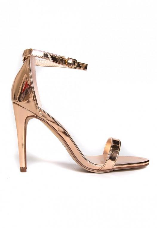 Strike Gold Metallic Ankle Strap Heels alternate img #1