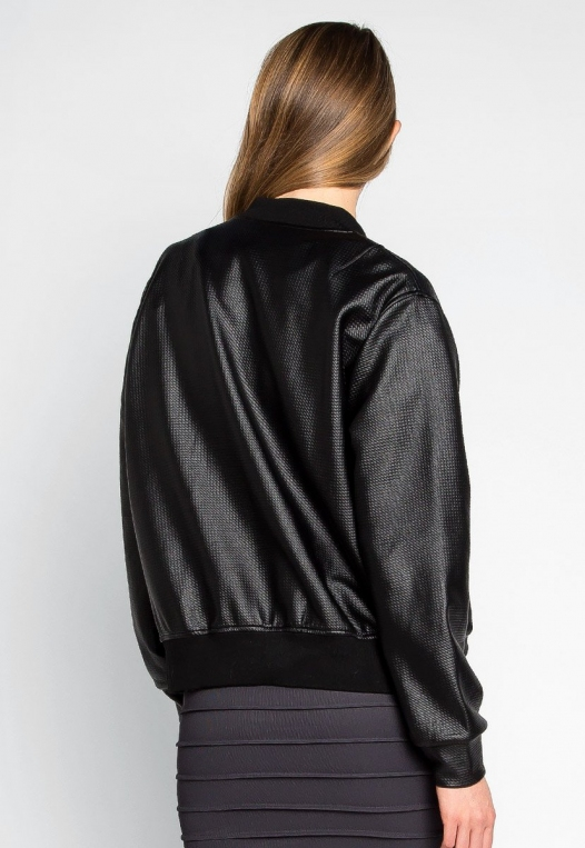Power Play Faux Leather Bomber Jacket in Black alternate img #2