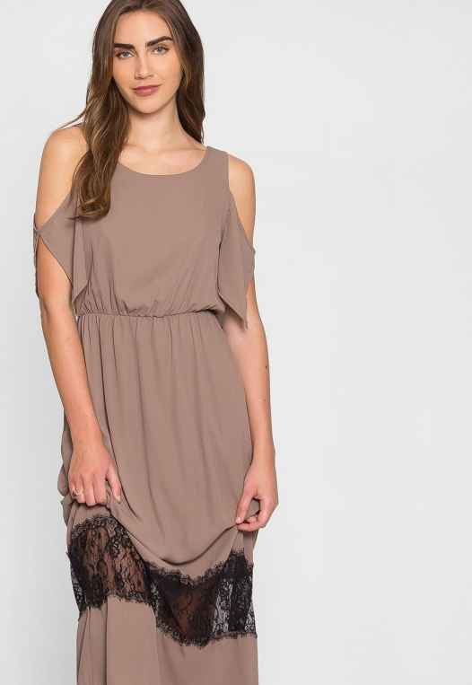 Pathway Cold Shoulder Maxi Dress in Mocha alternate img #5