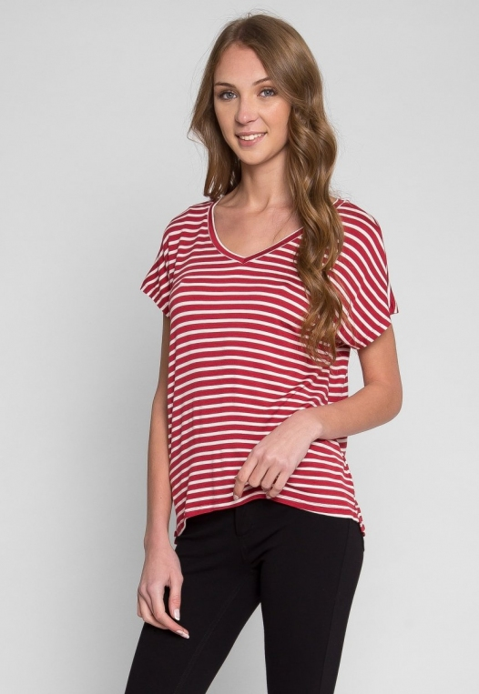 Boardwalk Games Stripe V-Neck Tee in Red alternate img #2