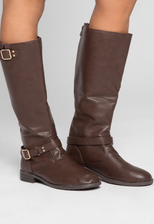Justina Buckle Boots in Brown alternate img #1