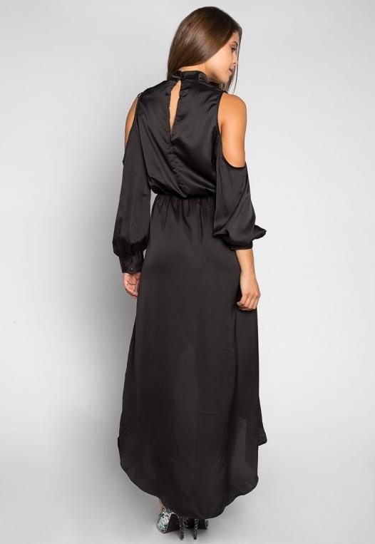 Always & Forever Satin Maxi Dress in Black alternate img #2