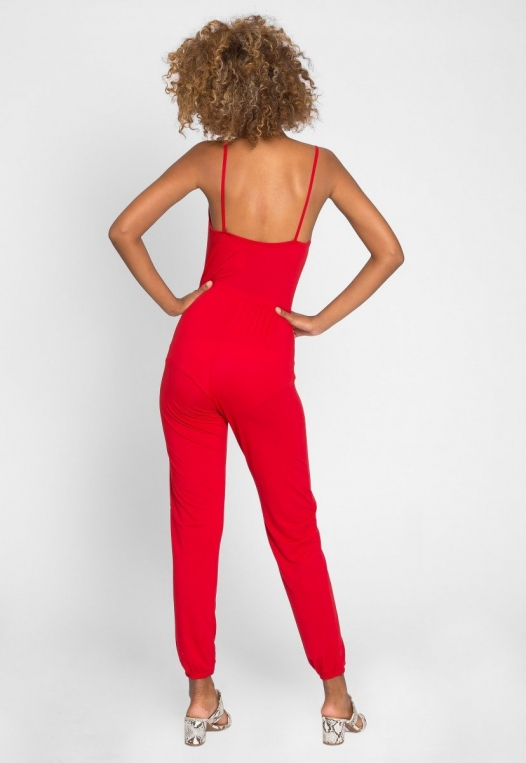 Hot Alert Cut Out Jumpsuit in Red alternate img #3