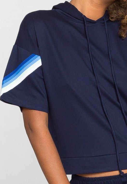Hills Side Tape Knit Hoodie in Navy alternate img #7