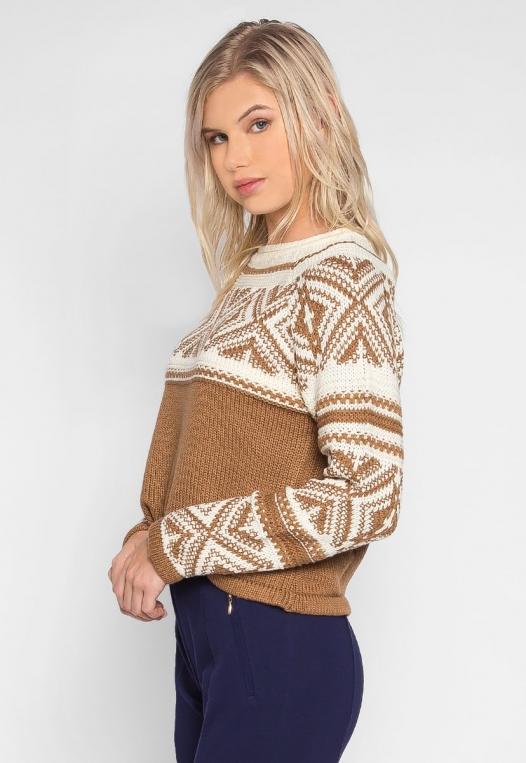 Explorers Geo Pattern Sweater in Brown alternate img #3