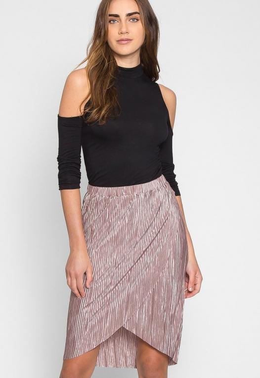 Metallic Pleated Tulip Skirt in Lavender alternate img #1