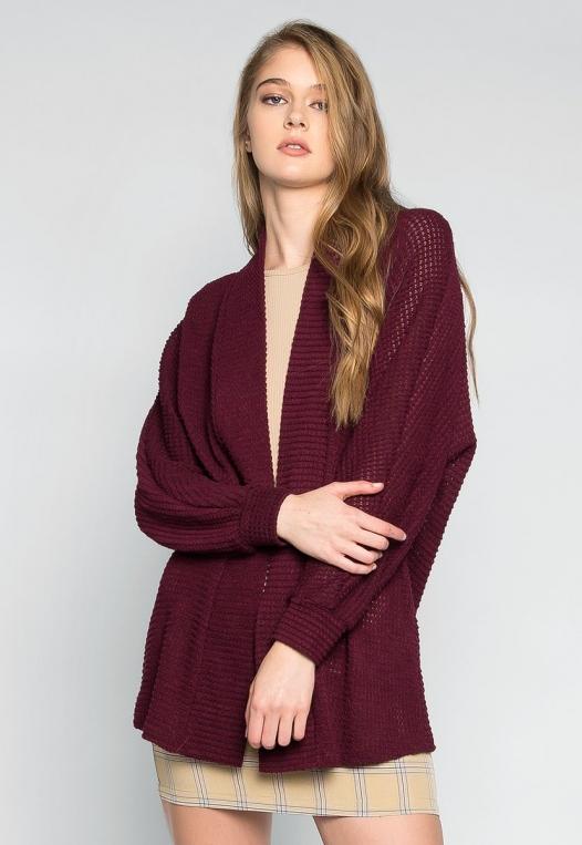 Keep Me Warm Textured Cardigan in Burgundy alternate img #3