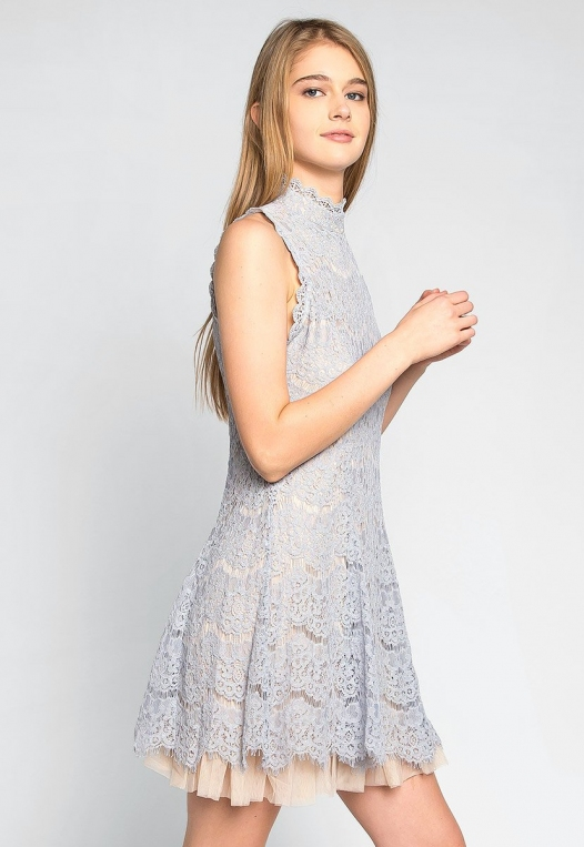 Wait For Me Mock Neck Lace Dress in Gray alternate img #1