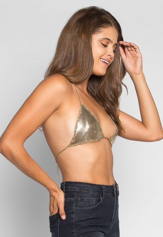So Cool Chainmail Bralette in Gold alternate img #3