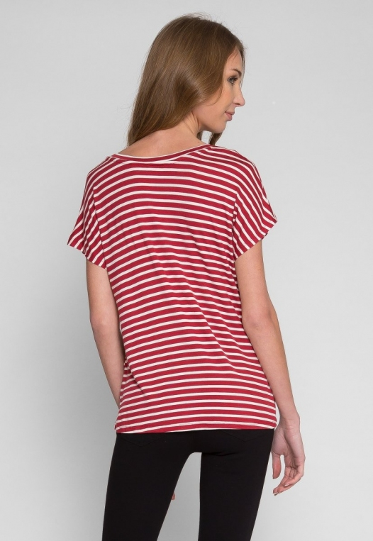 Boardwalk Games Stripe V-Neck Tee in Red alternate img #3