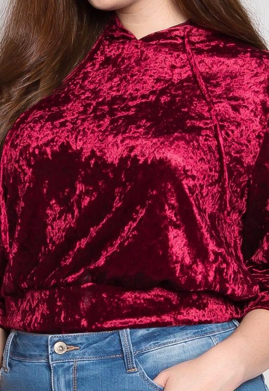 Plus Size Unpredictable Crop Hoodie in Ruby alternate img #6