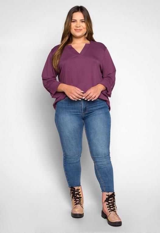 Plus Size Madeline Roll Tab Sleeve Blouse in Purple alternate img #4