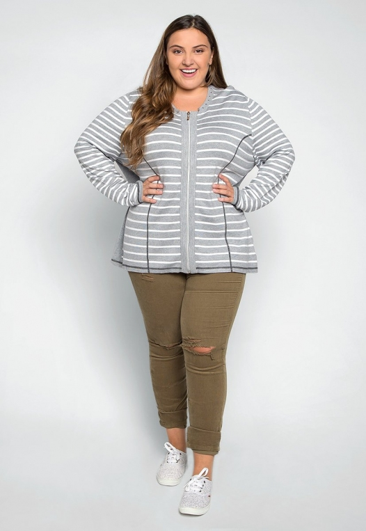 Plus Size Only You Studded Stripe Cardigan alternate img #4