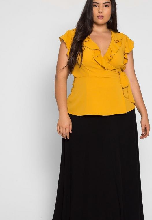 Plus Size Remember Me Wrap Blouse in Mustard alternate img #5