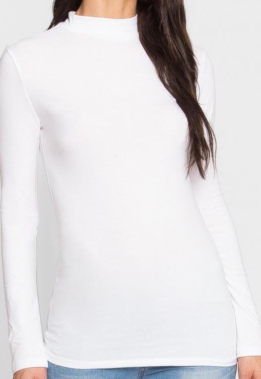 Sue Mock Neck Long Sleeve Top in White alternate img #6