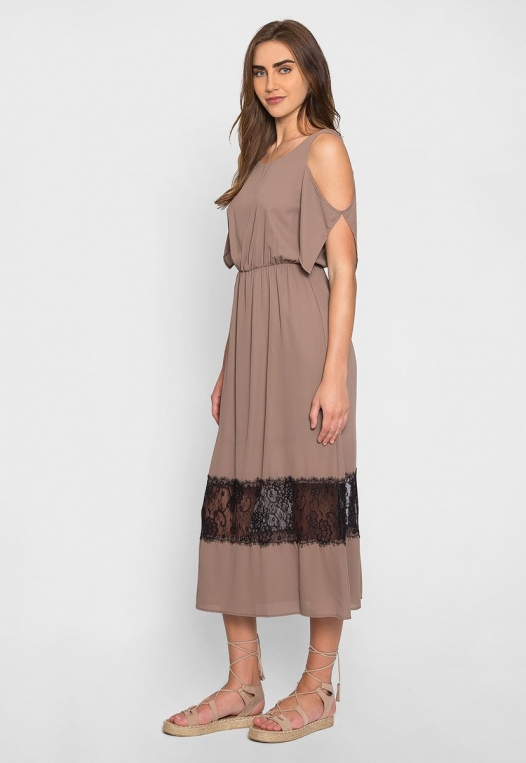 Pathway Cold Shoulder Maxi Dress in Mocha alternate img #1