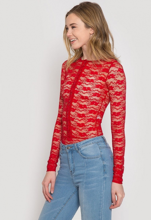 Davenport Lace Bodysuit in Red alternate img #3