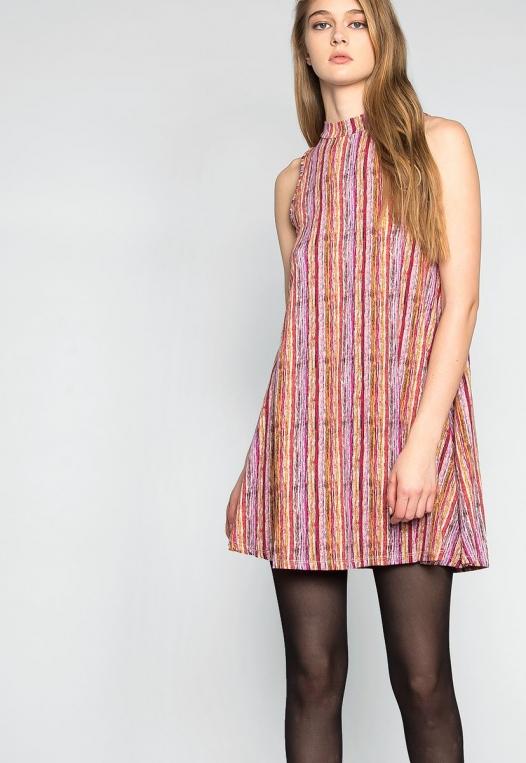 Colorful Party Striped Mock Neck Dress alternate img #5
