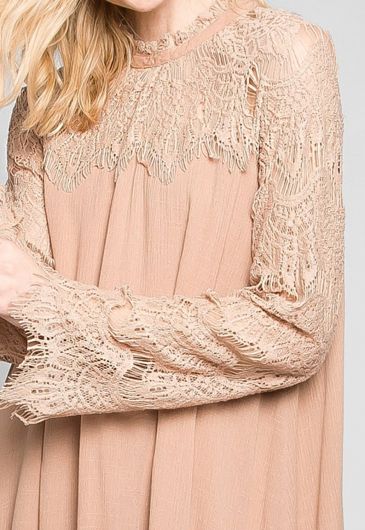 Burning For Love Lace Yoke Dress in Blush alternate img #6