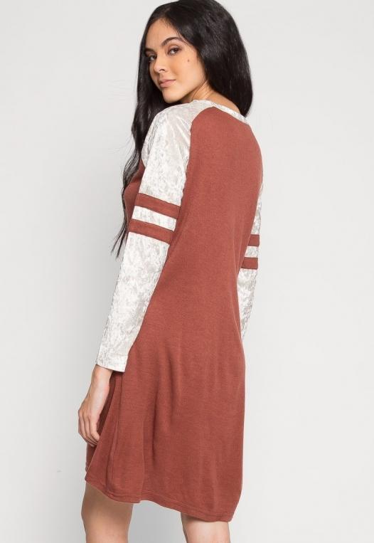 Catcher Varsity Velvet Dress in Wine alternate img #3