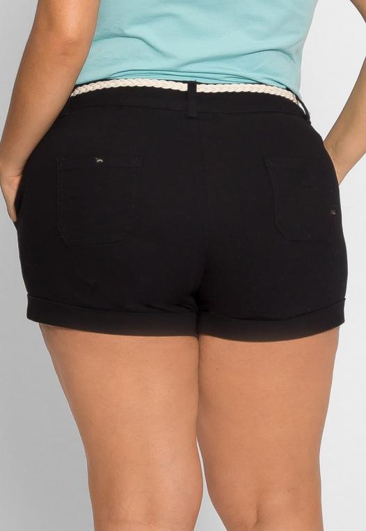 Plus Size Linen Braided Belt Shorts alternate img #2