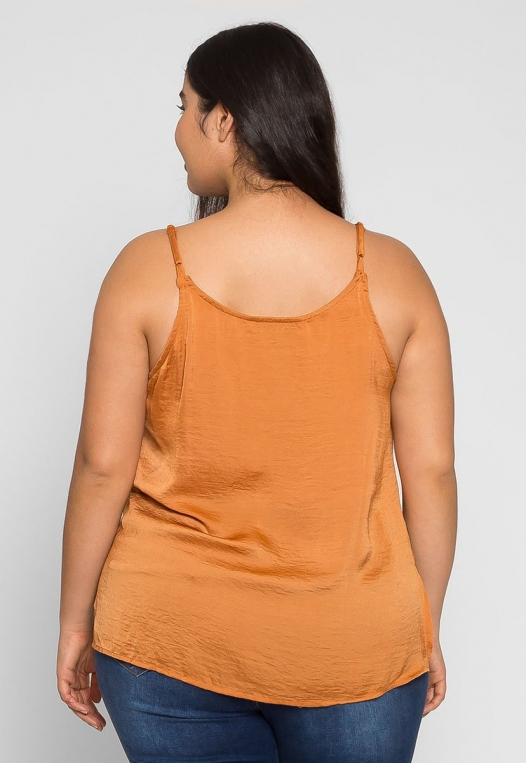 Plus Size Tangerine Satin Tank Top alternate img #2