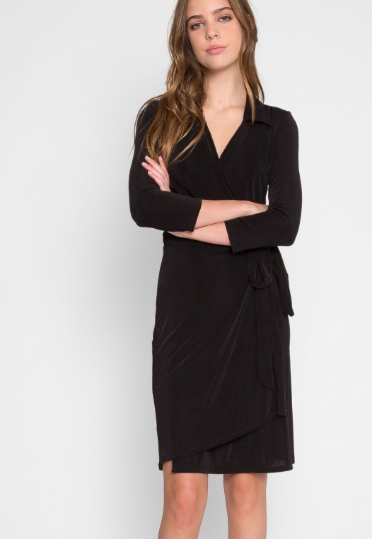 Horizon Wrapped Robe Dress in Black alternate img #5