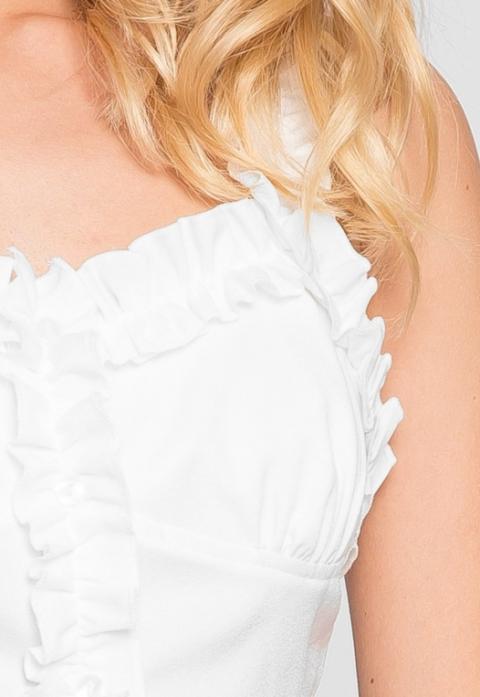 Jess Crop Ruffle Top in White alternate img #6