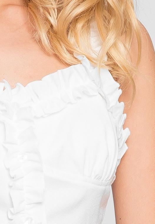 Jess Crop Ruffle Top in White alternate img #6