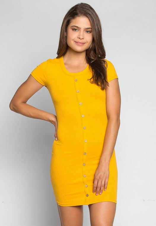 Play Hard Buttoned Fitted Dress in Mustard alternate img #1