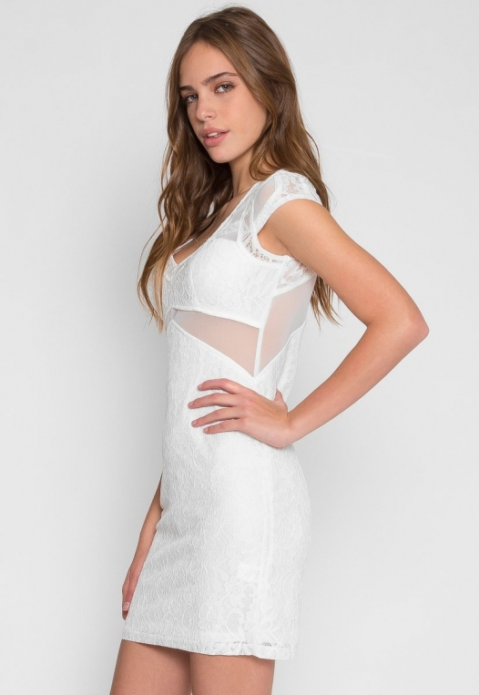 Roe Lace Bodycon Dress in White alternate img #1