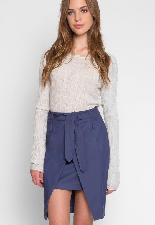 Tie Front Overlay Skirt in Navy alternate img #1