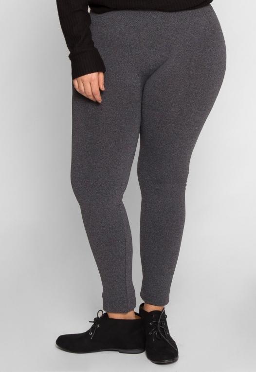 Plus Size High Waist Fleece Leggings in Charcoal alternate img #2