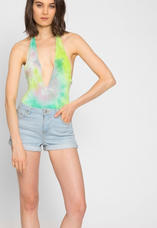 Crazy Tie Dye Halter Bodysuit alternate img #5