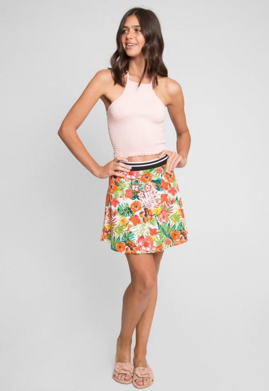 Halfmoon Tropic Print Flare Skirt alternate img #6