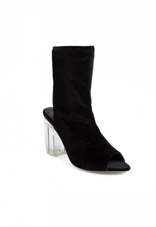 Leandra Velvet Cut Out Sock Heels in Black alternate img #3