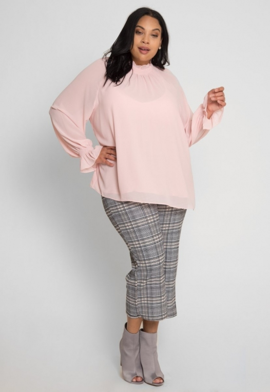 Plus Size Girly Chiffon Party Top in Blush alternate img #5