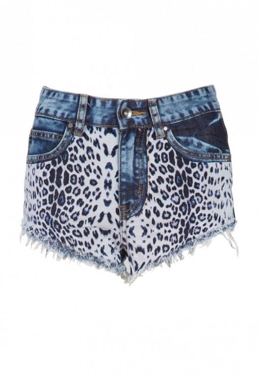 Amazon Cheetah Print Denim Shorts alternate img #7
