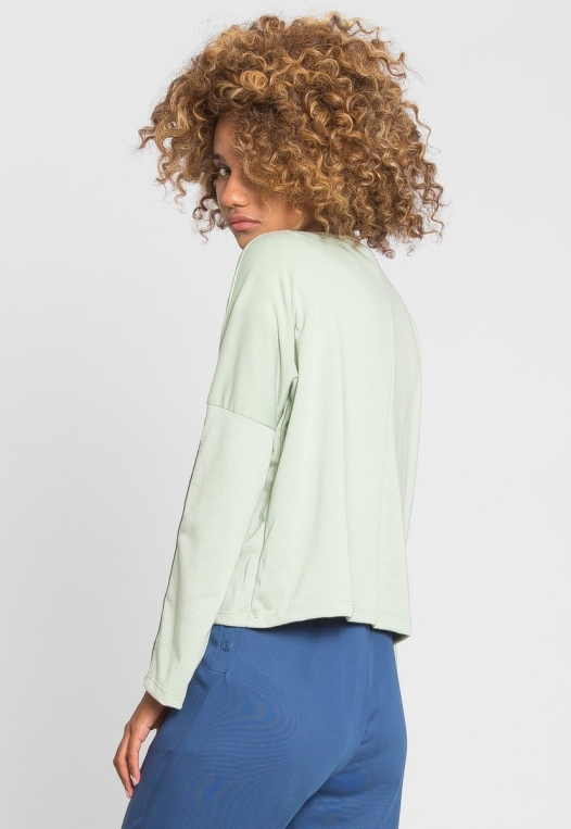 For You Checkboard Trim Knit Top in Mint alternate img #4