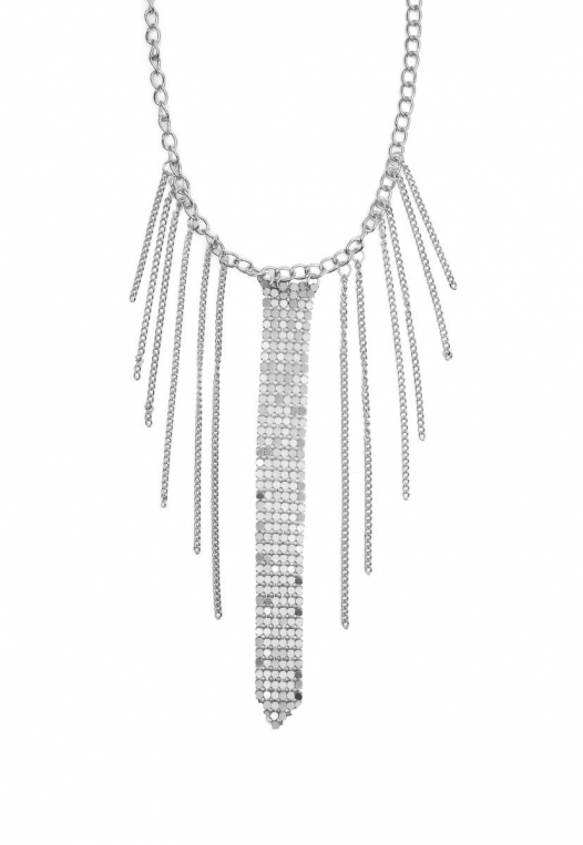 Chainmail Fringe Choker in Silver alternate img #2